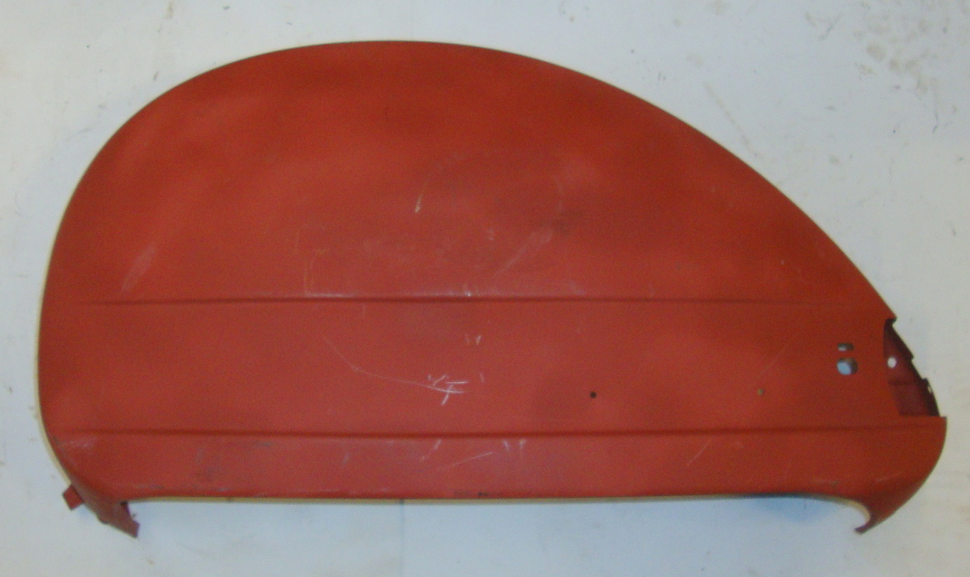 Side panel for spare wheel side, external mechanism, red primered, Vespa PX old model