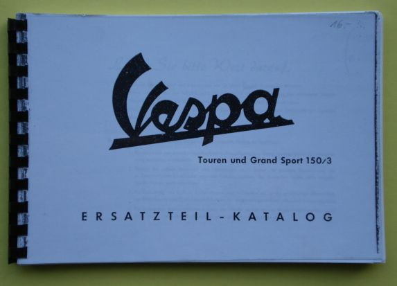 Spare parts catalogue, Vespa GS3 and T3
