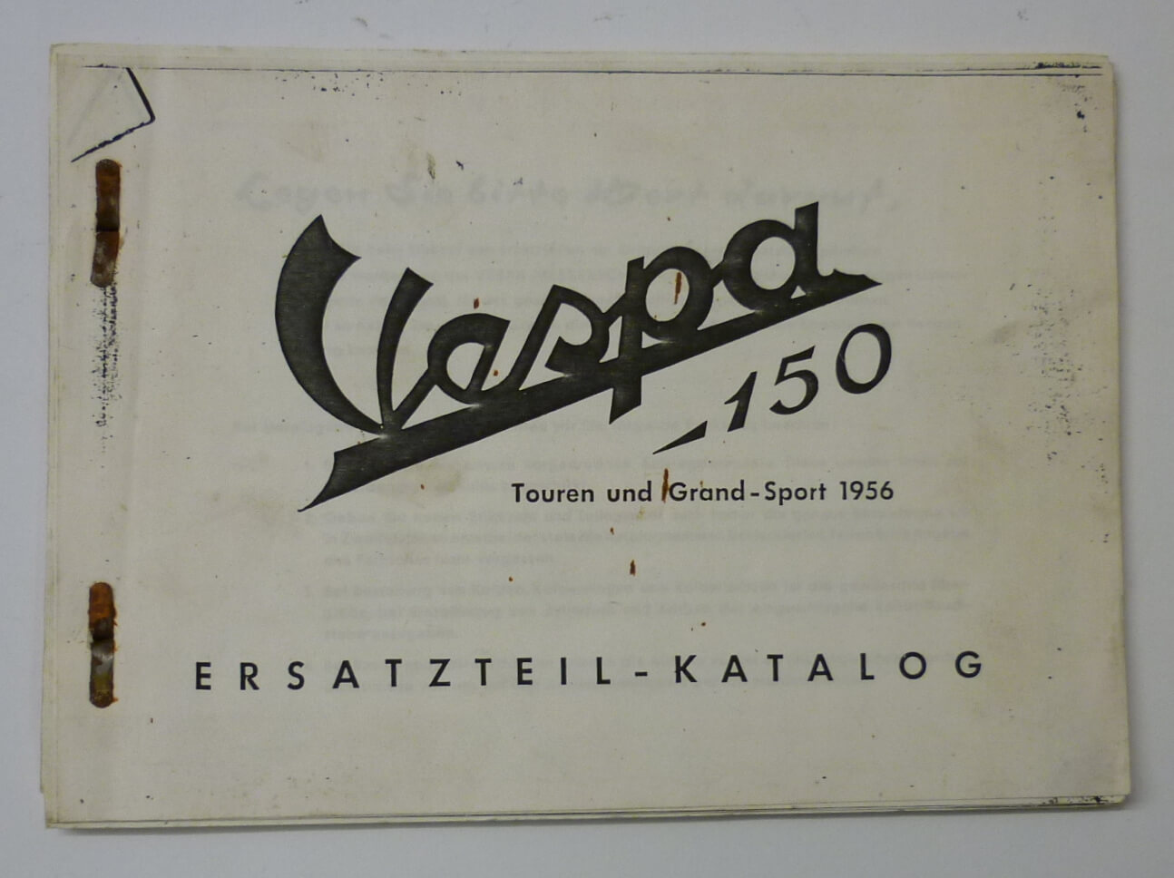 Spare parts catalogue, Vespa 150 Touren und Grand Sport 1956, used