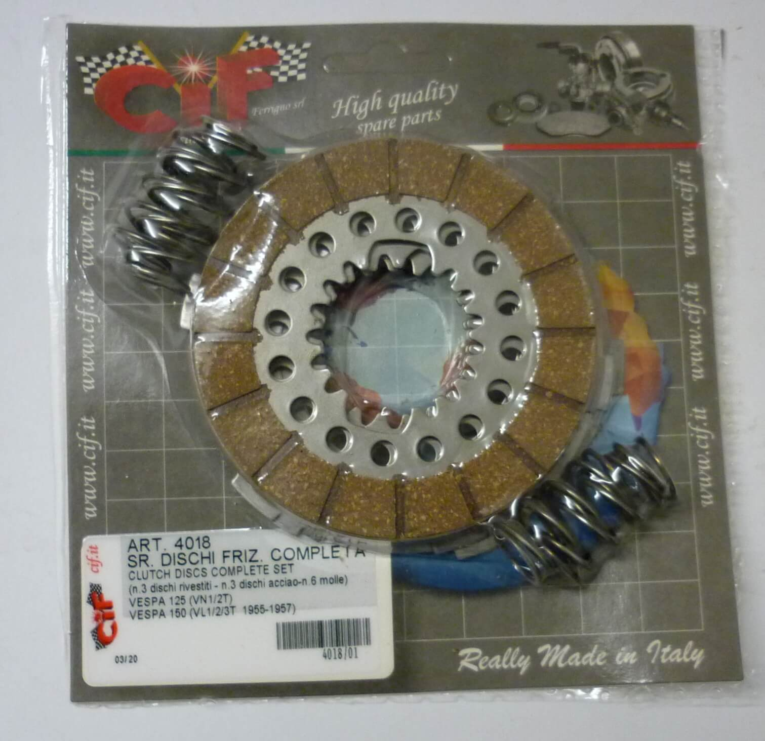 Clutch plate kit with springs, Vespa 125 / 150  1954 > 1957