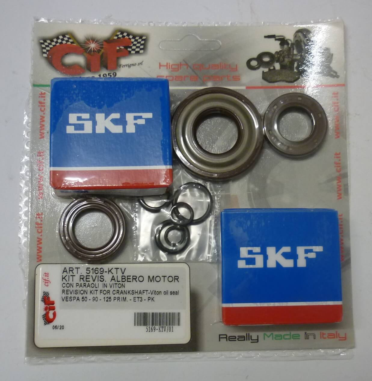 Kit crankshaft revision kit, VITON, Vespa 50 - 125 Primavera - ET3 - PK - PK XL - FL