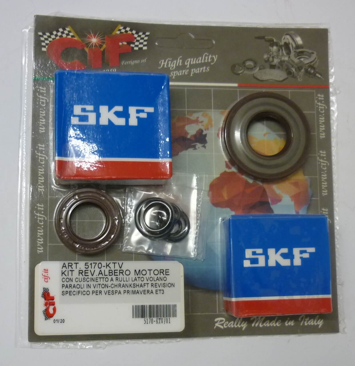 Kit crankshaft revision kit, VITON, Vespa 125 Primavera - ET3