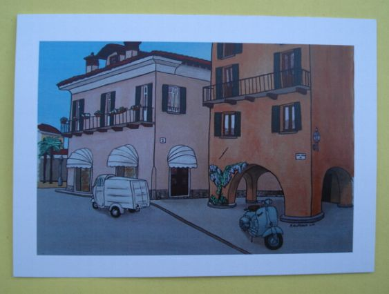Postcard Ape and Vespa