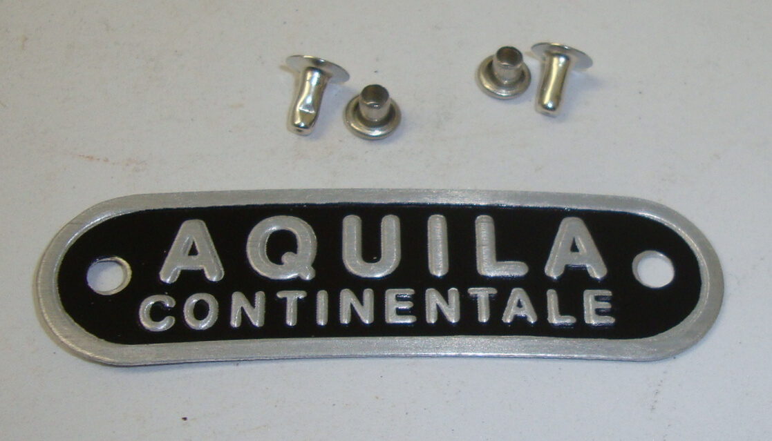 "Plate with rivets, ""AQUILA CONTINENTALE"", black"
