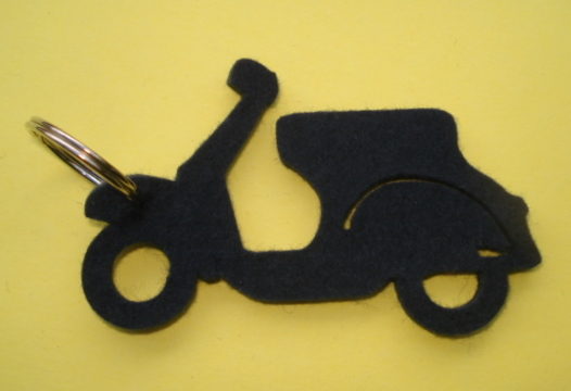 Key ring, felt, Vespa, dark blue