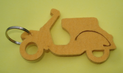 Key ring, felt, Vespa, yellow