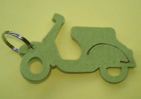 Key ring, felt, Vespa, light green