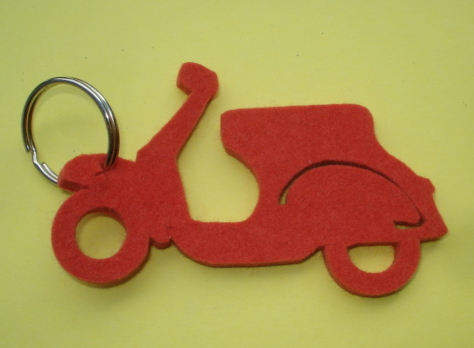 Key ring, felt, Vespa, orange