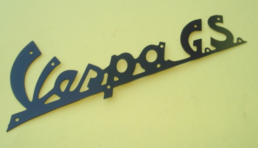 "Name plate whit holes, dark blue, ""Vespa GS"""