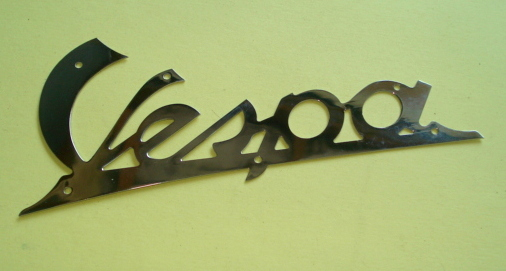 Name plate with holes, cromed, Vespa 98 / 125 / 150, Eco