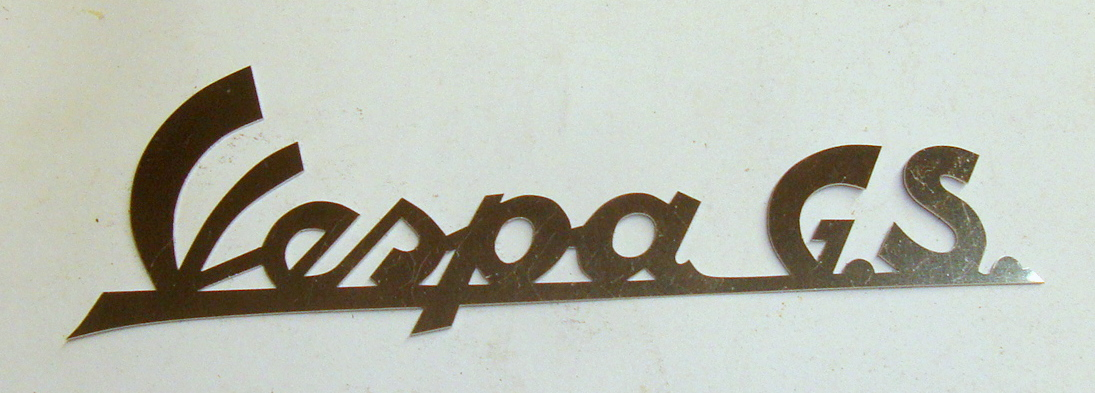 "Name plate with holes, INOX, ""Vespa GS"""