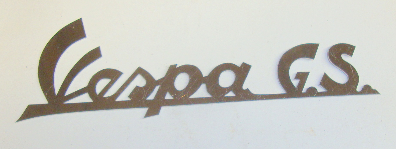 "Name plate without holes, INOX, ""Vespa GS"""