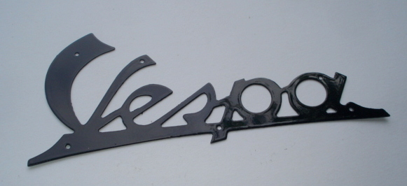 Name plate with holes, dark blue, Vespa 125 VNA1T > VNA2T