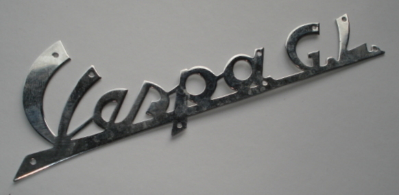 "Name plate with holes, chromed, ""Vespa GL"","