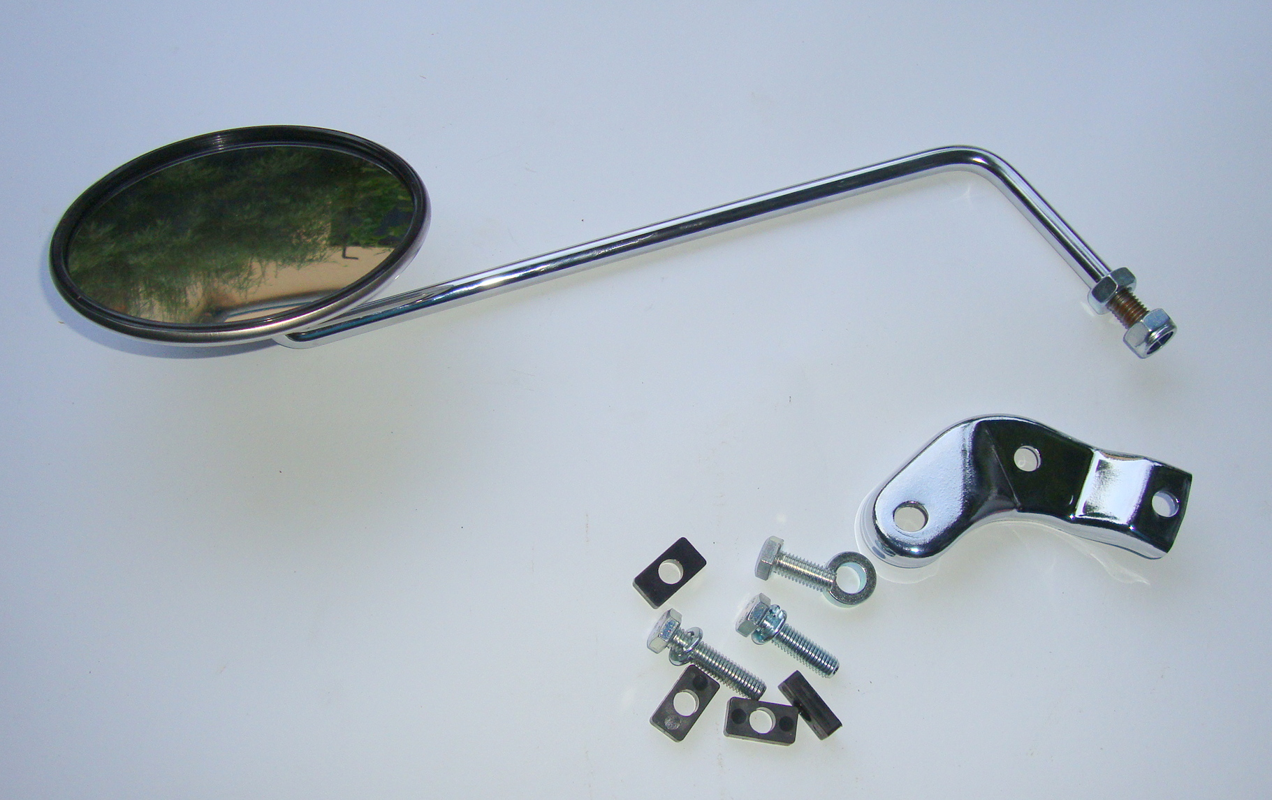 Mirror for handlebar, left side, BUMM, round, stainless steel