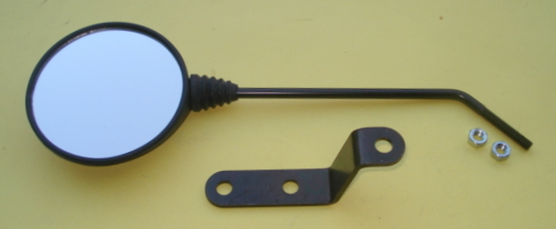 Mirror for handlebar,left or right side, PIAGGIO, round, black, Vespa PK