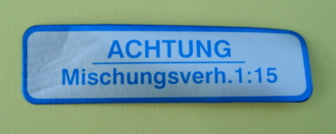 "Sticker for fuel tank "" ACHTUNG MISCHUNGSVERH. 1:15"", blue"