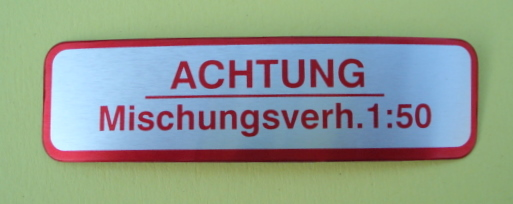 "Sticker for fuel tank "" ACHTUNG MISCHUNGSVERH. 1:50"", red"