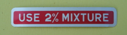 "Sticker for fuel tank ""USE 2% MIXTURE"", red"