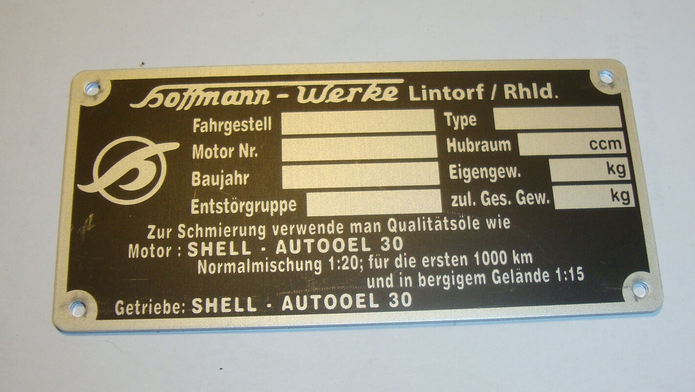 Type sign, Hoffmann Vespa