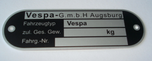 Type sign, Vespa Augsburg, Vespa 50 / 150 Touren 4