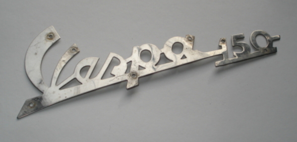 "Name plate with holes, ""Vespa 150"""